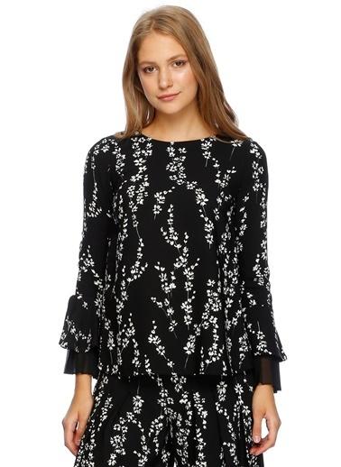 Beymen Studio Uzun Kollu Desenli Bluz Siyah